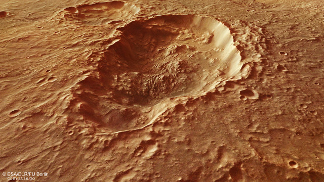 Perspective view across the triple crater in the Terra Sirenum region on Mars (Image ESA/DLR/FU Berlin, CC BY-SA 3.0 IGO)