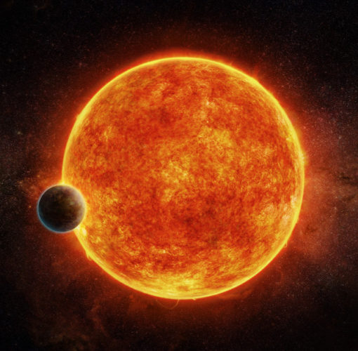 Artist's concept of the planet LHS 1140b about to pass in front of its star (Image M. Weiss/CfA)