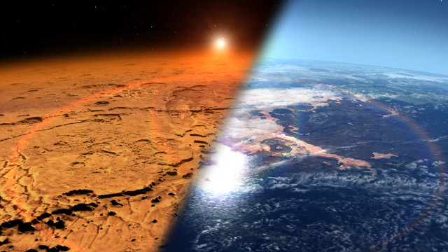 Artist's concept comparing Mars as it is today and as it was 4 billion years ago (Image NASA's Goddard Space Flight Center)