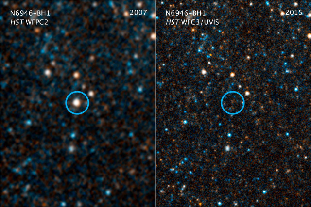 The area where the star N6946-BH1 used to be before and after its disappearance (Image NASA/ESA/C. Kochanek (OSU))