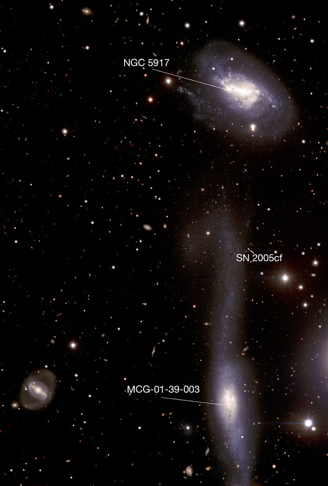 The galaxies NGC 5917 and MCG-01-39-003 (Image ESO)