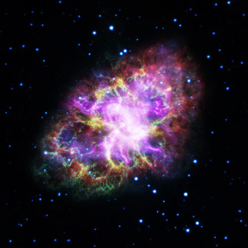 Composite image of the Crab Nebula (Image NASA, ESA, G. Dubner (IAFE, CONICET-University of Buenos Aires) et al.; A. Loll et al.; T. Temim et al.; F. Seward et al.; VLA/NRAO/AUI/NSF; Chandra/CXC; Spitzer/JPL-Caltech; XMM-Newton/ESA; and Hubble/STScI)