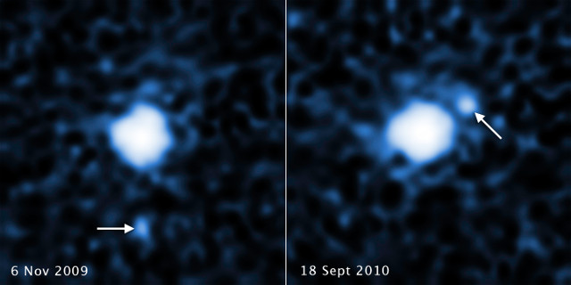 2007 OR10 and its moon (Image NASA, ESA, C. Kiss (Konkoly Observatory), and J. Stansberry (STScI))