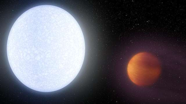 Artist's concept of the star KELT-9 and the planet KELT-9b (Image NASA/JPL-Caltech)