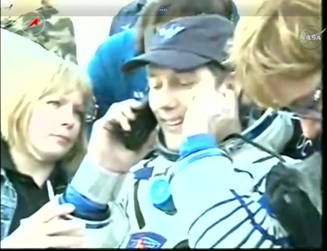 Thomas Pesquet assisted after his landing (Image NASA TV)