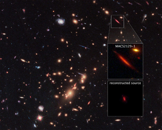 The galaxy cluster MACS J2129-0741 and the galaxy MACS2129-1 (Image NASA, ESA, and S. Toft (University of Copenhagen), M. Postman (STScI), and the CLASH team)