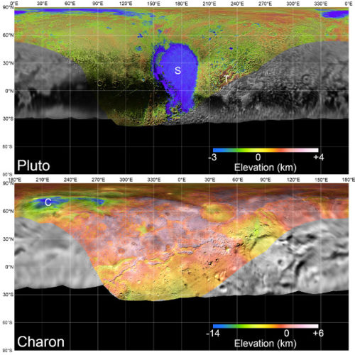 Maps of Pluto and Charon (Image NASA/JHUAPL/SwRI/LPI)