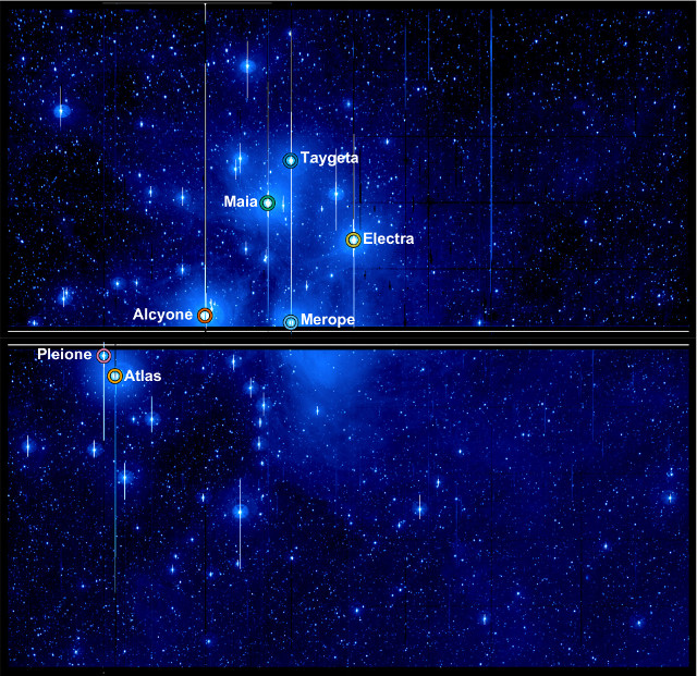 The Pleiades seen by the Kepler Space Telescope (Image NASA / Aarhus University / T. White)