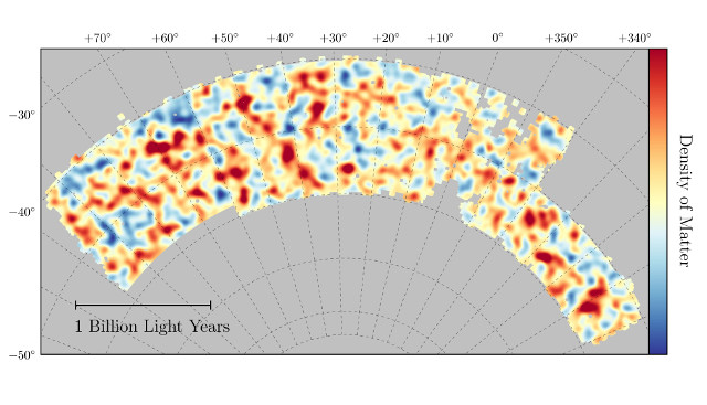 Dark Energy Survey's map (Image Chihway Chang/Kavli Institute for Cosmological Physics at the University of Chicago/DES Collaboration)