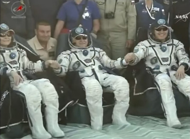 Peggy Whitson, Fyodor Yurchikhin and Jack Fischer after landing (Image NASA TV)