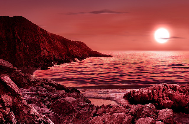 Artist's impression of the surface of a planet orbiting a red dwarf (Image M. Weiss/CfA)