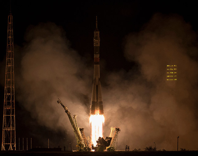 The Soyuz MS-06 spacecraft blasting off atop a Soyuz rocket (Photo NASA/Bill Ingalls)