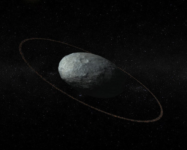 Artist's concept of Haumea with its ring (Image courtesy IAA-CSIC/UHU)