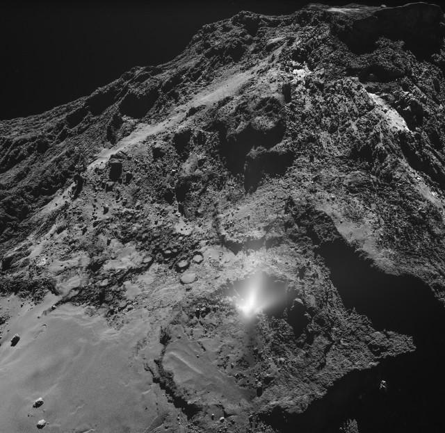 Plume on comet 67P/Churyumov-Gerasimenko (Image ESA/Rosetta/MPS for OSIRIS Team MPS/UPD/LAM/IAA/SSO/INTA/UPM/DASP/IDA)
