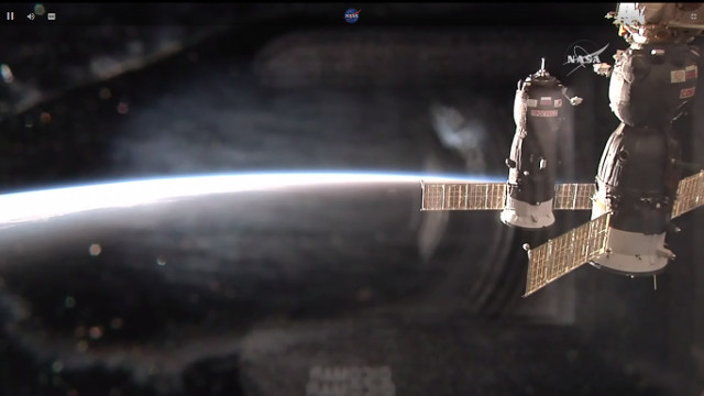 The Progress MS-7 cargo spacecraft approaching the International Space Station (Image NASA TV)
