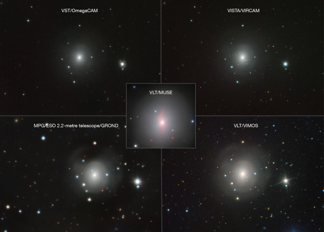 The galaxy NGC 4993 seen from several different ESO telescopes (Image VLT/VIMOS. VLT/MUSE, MPG/ESO 2.2-metre telescope/GROND, VISTA/VIRCAM, VST/OmegaCAM)