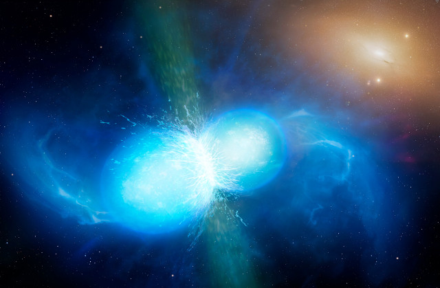 Artist's concept of a neutron star marger (Image University of Warwick/Mark Garlick)