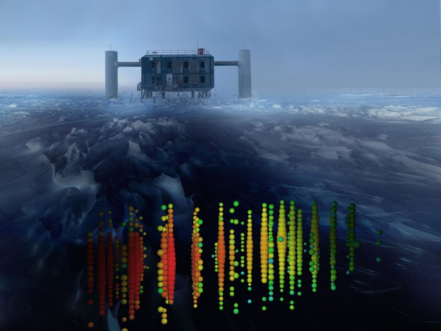 Representation of neutrinos reaching IceCube (Image courtesy IceCube Collaboration)