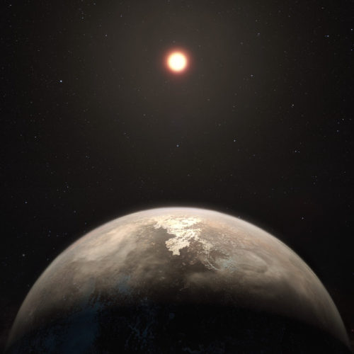 Artist's impressione of the exoplanet Ross 128 b and its star (Image ESO/M. Kornmesser)
