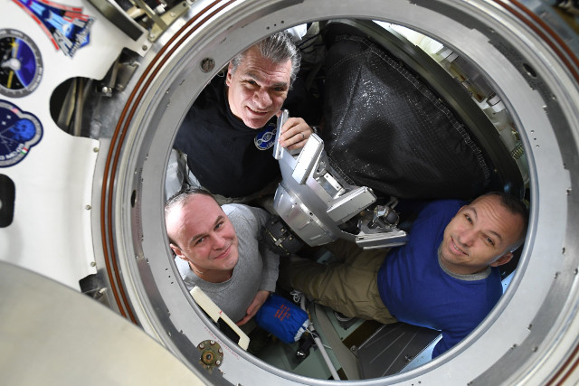 Clockwise from top: Paolo Nespoli, Randy Bresnik and Sergey Ryazansky (Photo NASA)