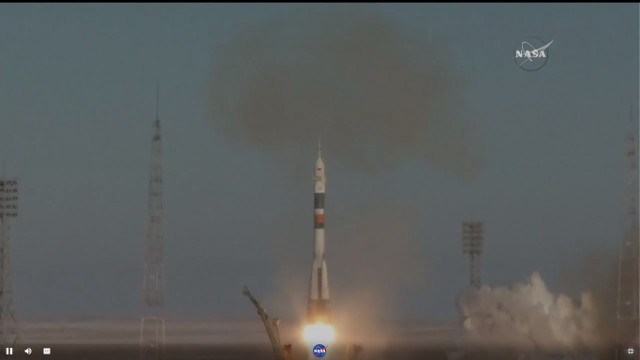 The Soyuz MS-07 spacecraft blasting off atop a Soyuz rocket (Image NASA TV)
