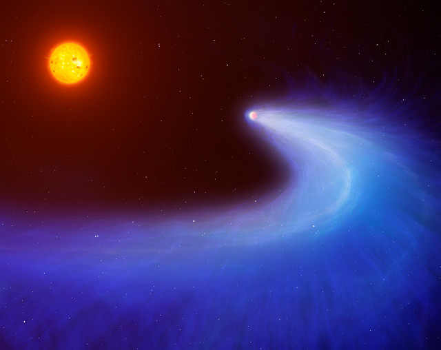 Artist's concept of the planet GJ 436b with its tail (Image courtesy Mark Garlick/University of Warwick)