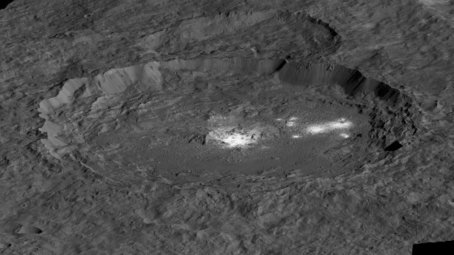 Simulated perspective view of Occator Crater on Ceres (Image NASA/JPL-Caltech/UCLA/MPS/DLR/IDA)