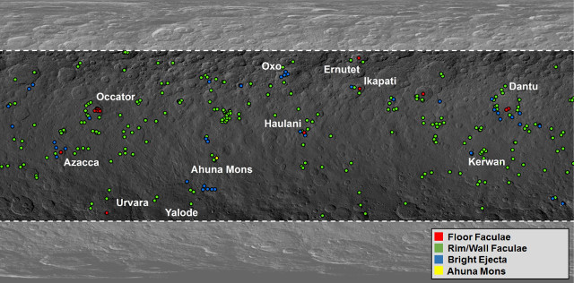 Map of bright spots on Ceres (Image NASA/JPL-Caltech/UCLA/MPS/DLR/IDA/PSI/Caltech)