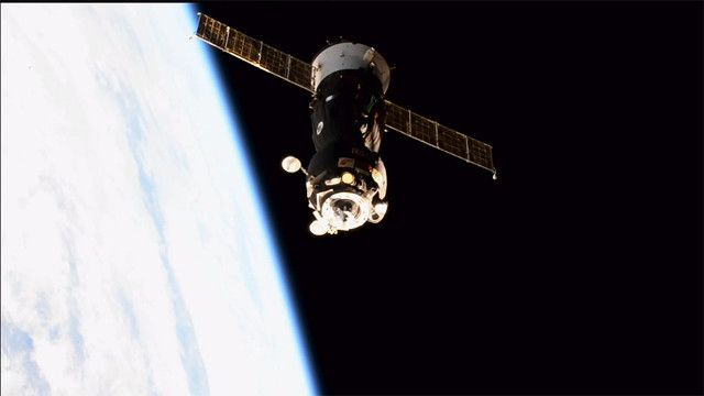 The Soyuz MS-05 spacecraft leaving the International Space Station (Image NASA TV)
