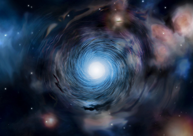 Artist's impression of a whirlpool motion in an early galaxy (Image Institute of Astronomy, Amanda Smith)