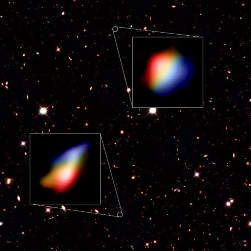 The early galaxies observed by ALMA in the sky observed by Hubble (Image Hubble (NASA/ESA), ALMA (ESO/NAOJ/NRAO), P. Oesch (University of Geneva) and R. Smit (University of Cambridge))
