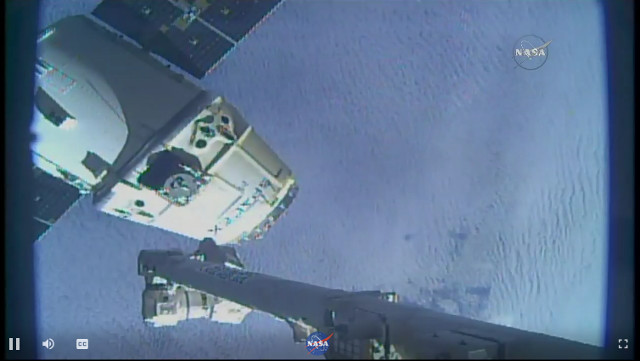 The Dragon space cargo ship departing the International Space Station (Image NASA TV)