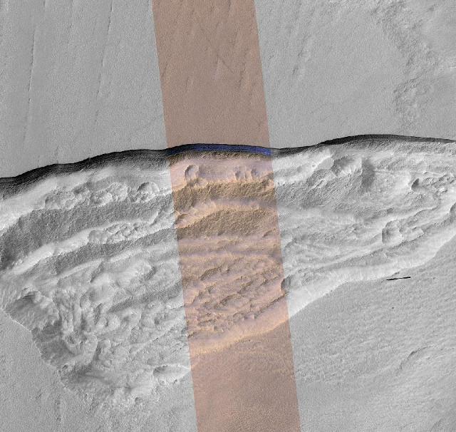 Steep slope exposing a glacier (Image NASA/JPL-Caltech/UA/USGS)