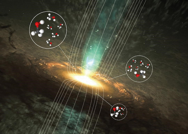 Artist's concept of a star in formation with signals from methanol (Image courtesy Wolfgang Steffen/Boy Lankhaar et al. (molecules: Wikimedia Commons/Ben Mills))