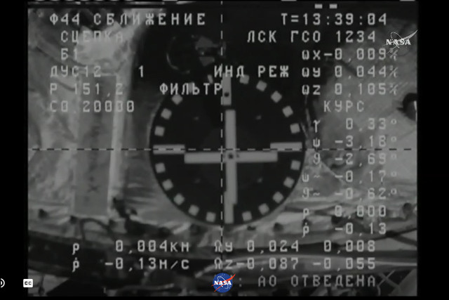 The docking with the International Space Station seen from the Progress MS-8 space cargo ship (Image NASA TV)