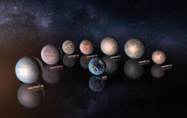 Artist's concept of TRAPPIST-1's planets with the Earth (Image ESO/M. Kornmesser)