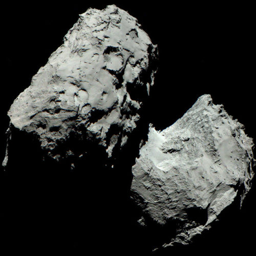 The comet 67P/Churyumov-Gerasimenko on August 6, 2014 (Image ESA/Rosetta/MPS for OSIRIS Team MPS/UPD/LAM/IAA/SSO/INTA/UPM/DASP/IDA)