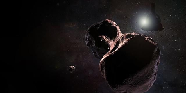 Artist's concept of New Horizon's Ultuma Thule flyby (Image NASA/JHUAPL/SwRI/Steve Gribben)