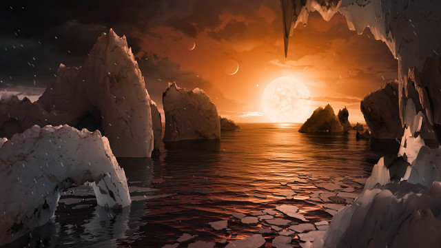 Artist's concept of the panorama on the planet TRAPPIST-1f  (Image NASA/JPL-Caltech/T. Pyle (IPAC))