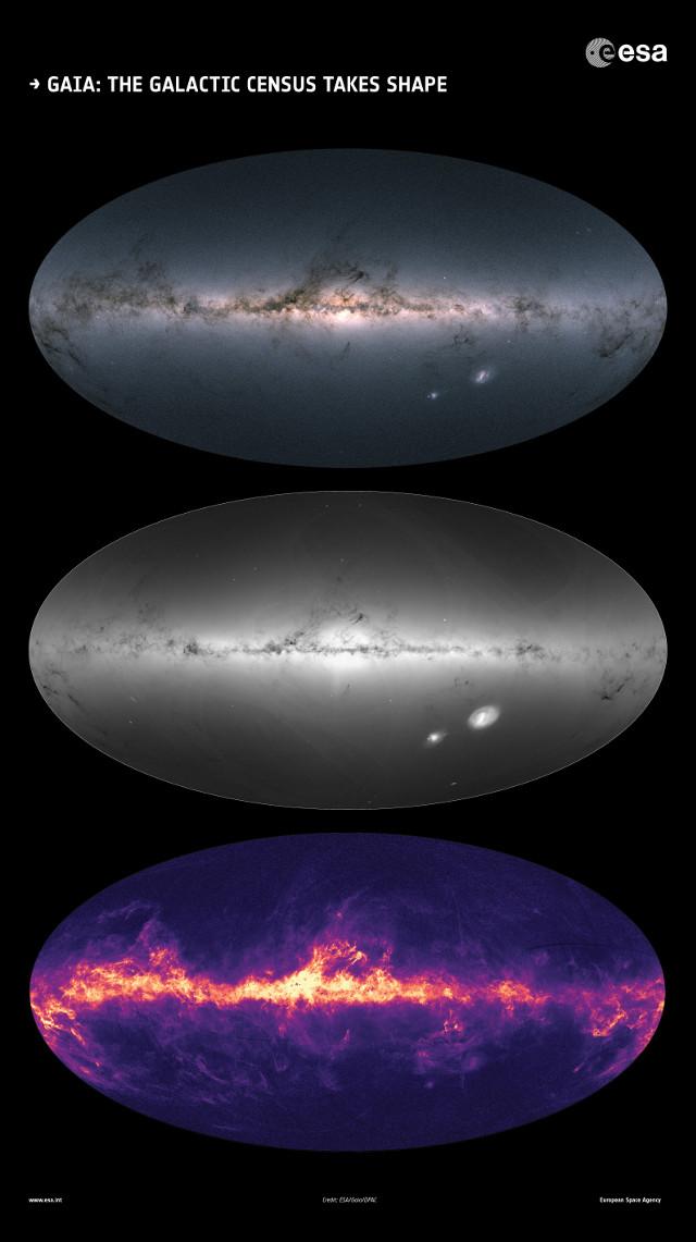 Gaia's sky DR2 maps (Image ESA/Gaia/DPAC)