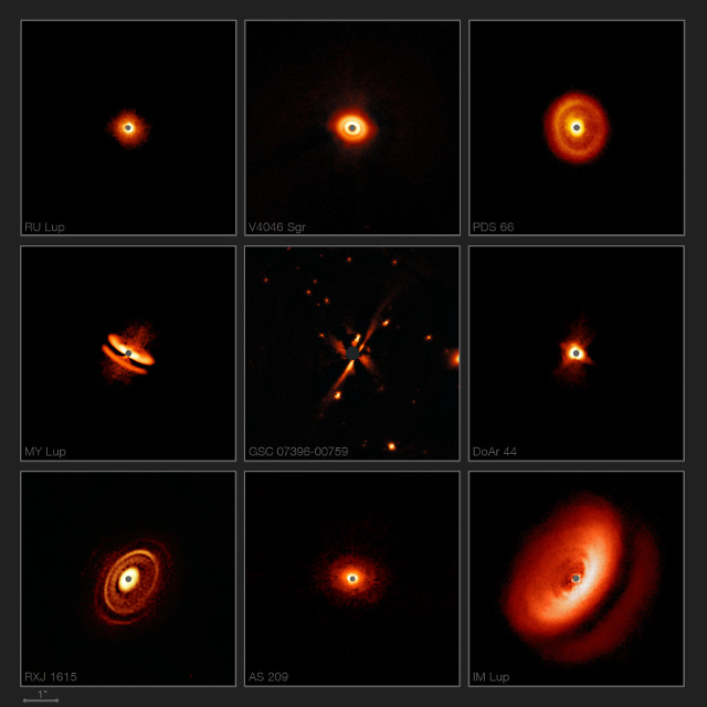 Star systems observed by the SPHERE instrument (Image ESO/H. Avenhaus et al./E. Sissa et al./DARTT-S and SHINE collaborations)