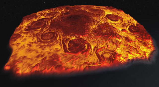 An infrared 3-D image of Jupiter's North Pole (Image NASA/JPL-Caltech/SwRI/ASI/INAF/JIRAM)