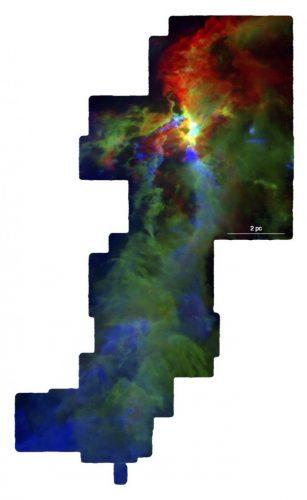 Orion A (Image courtesy NSF/S. Kong, J. Feddersen, H. Arce & CARMA-NRO Orion Survey team)