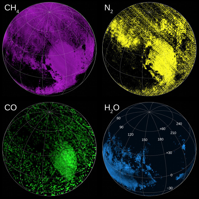 Maps of compounds on Pluto