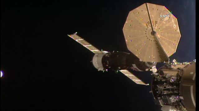 The Soyuz MS-09 spacecraft approaching the International Space Station (Image NASA TV)