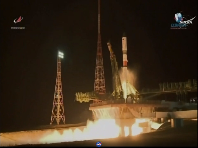 The Progress MS-9 cargo spacecraft blasting off atop a Soyuz 2.1a rocket (Image NASA TV)