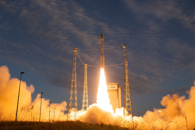 The Aeolus satellite blasting off atop a Vega rocket (Photo ESA - S. Corvaja)