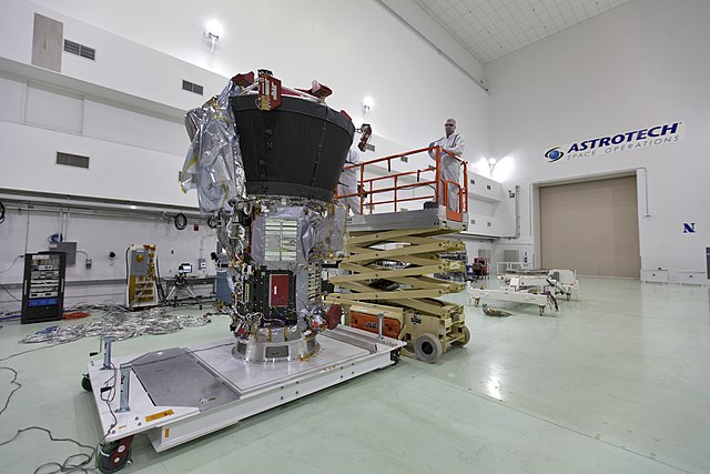 The Parker Solar Probe during its preparation phase (Photo NASA/Leif Heimbold)