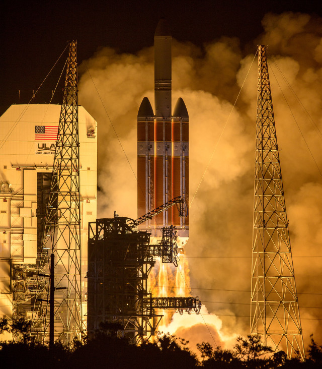 The Parker Solar Probe blasting off atop a Delta IV Heavy rocket (Photo NASA/Bill Ingalls)