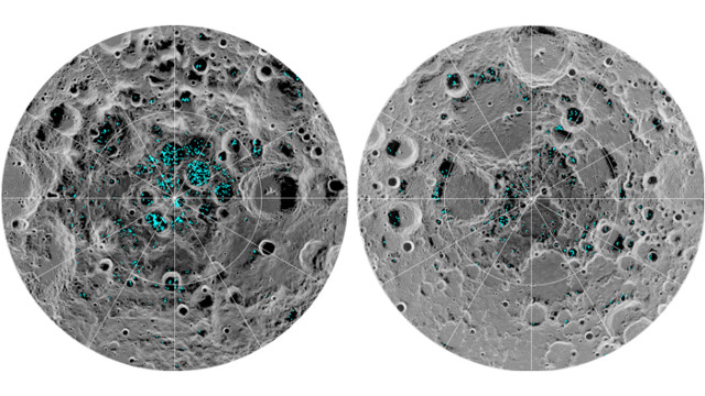 Distribution of water ice on the Moon's polar areas